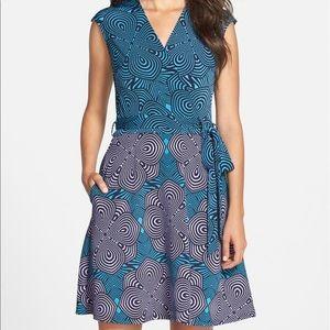 Taylor Print Jersey & Scuba Faux Wrap Dress